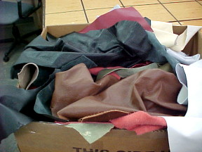 Upholstery leather scrap pieces sold by the pound