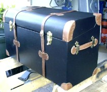 Refinished antique car trunk
