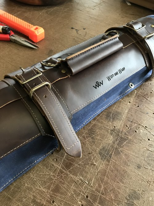 leather knife rolls hand made in Maine