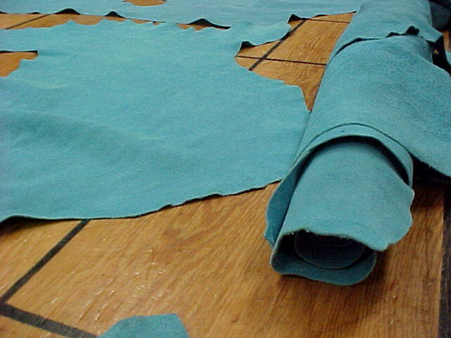 soft aquamarine suede leather hides for sale