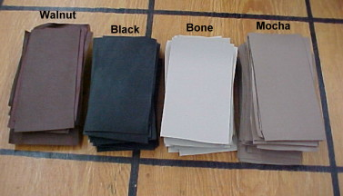 Leather, tannery sample swatches