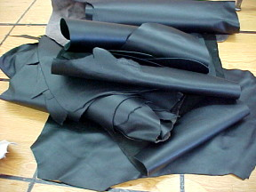 Black leather hides