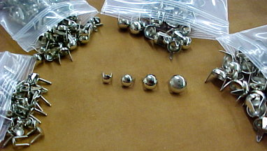 Nickel Spots with prongs on Back in Many Sizes for Leather Craft or Fabric Projects