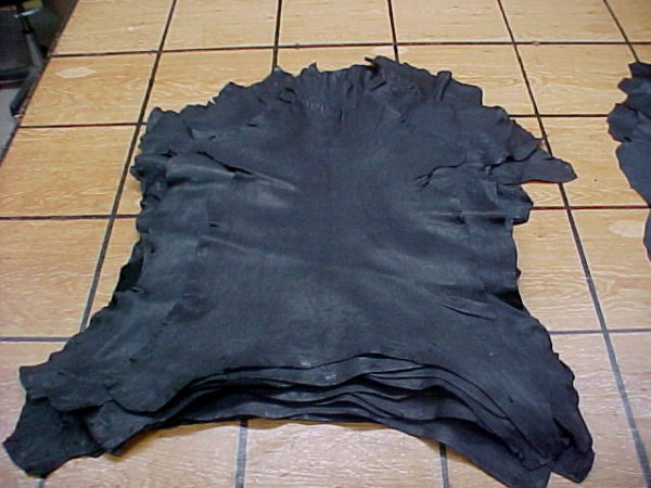 Black goat leather hides for sale, free USA shipping
