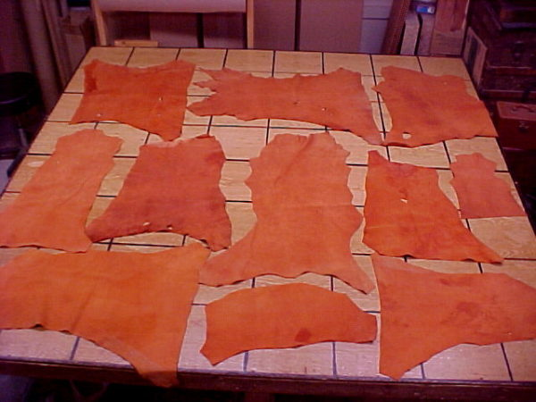 burnt orange leather hides on sale