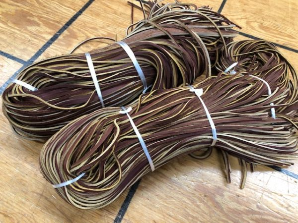 Hickory laces are reddish brown and 72 inches long each