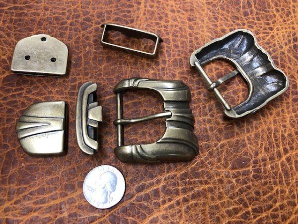 3 piece buckle set in antique brass