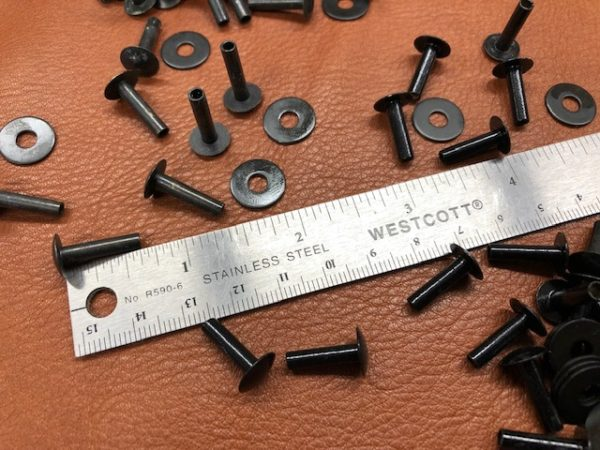 Black tubular rivets sold by the pack of 100