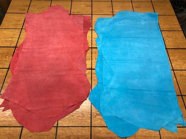 bubble gum suede leather hides
