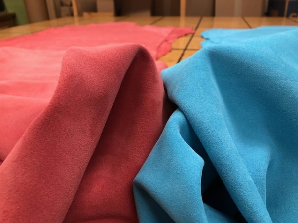 Soft colorful suede leather hides