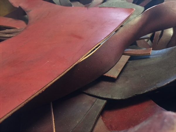 thick burgundy saddle leather pieces