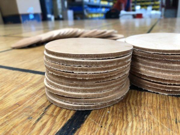 10 oz leather coasters