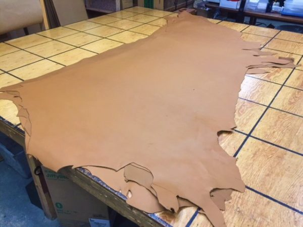 Smooth tan leather hides for sale