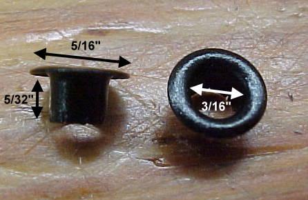Small black shor or boot lacing eyelets