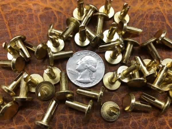 Brass split rivets for suitcase repair