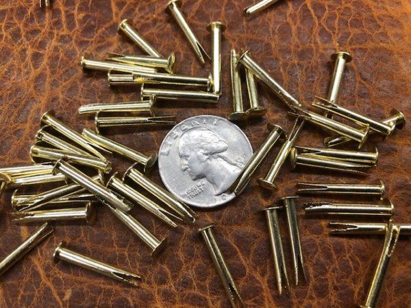 Long brass split rivets