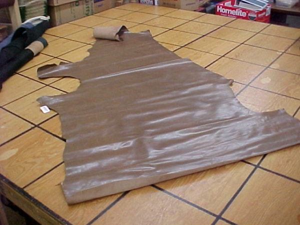 mocha glossy leather hide for sale