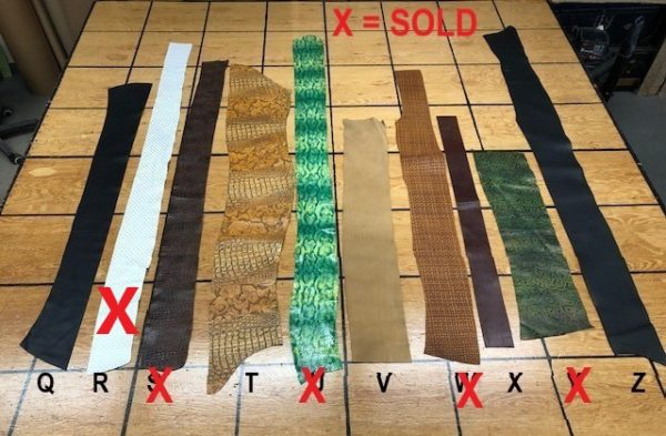 Long strips of colorful leatherfor belts