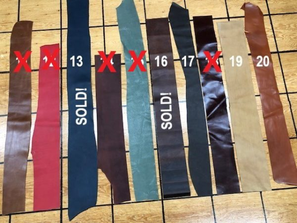 Belting leather strips for sale by the piece, with free USA shipping.