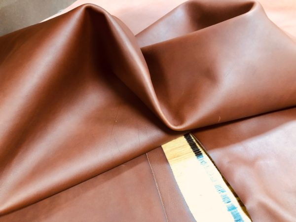 Soft reddish brown leather hides for sale