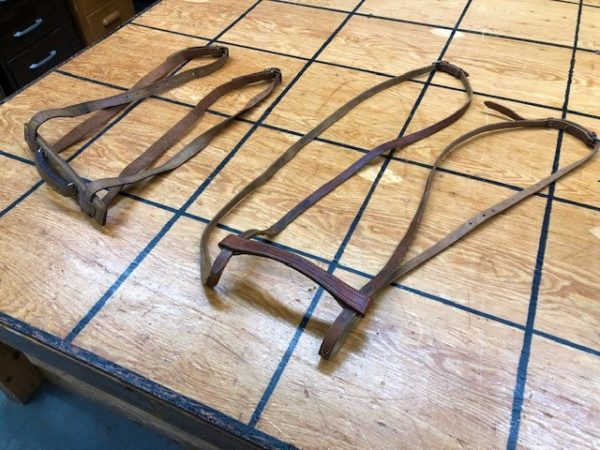 vintage suitcase leather straps