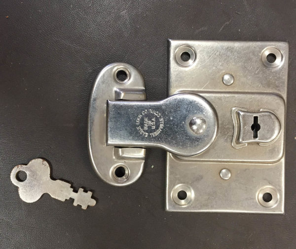 old stock trunk lock with key