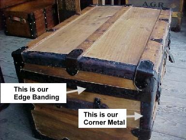 steamer trunk lid metal banding