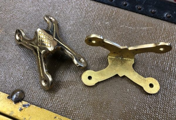 Small Cast Brass Slat Clamp or Corner Guard