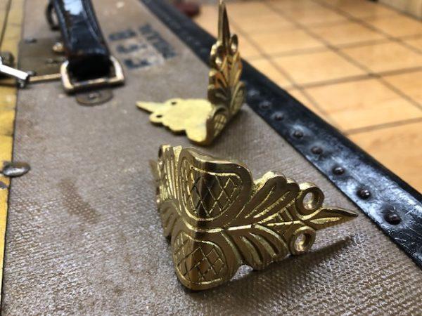 Cast Brass Trunk Slat Clamp or Corner Guard