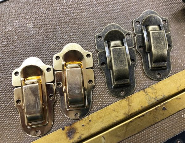 Mid-Sized Steamer Trunk Drawbolts in Antique Brass or Bright Brass