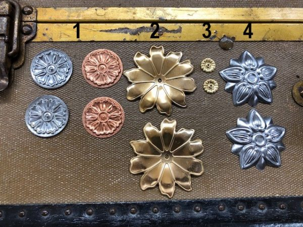 Four Styles of Decorative Steamer Trunk Rosettes