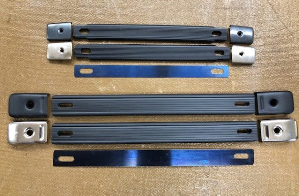 Easy to install replacement handles for suitcases, brief cases, instrument cases, and tool boxes
