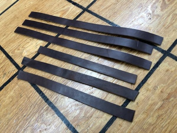 """1"""" Wide Dark Brown Harness Leather Strips - Cut Your Own Handles!"""