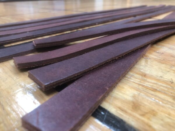 TH-25 Long Strip of Double Layer Dark Brown Steer Hide Leather