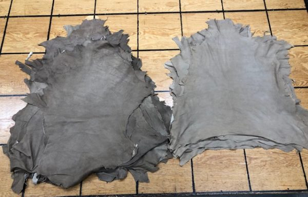 Sand and Dark Sand Lambskin Suede Leather Hides