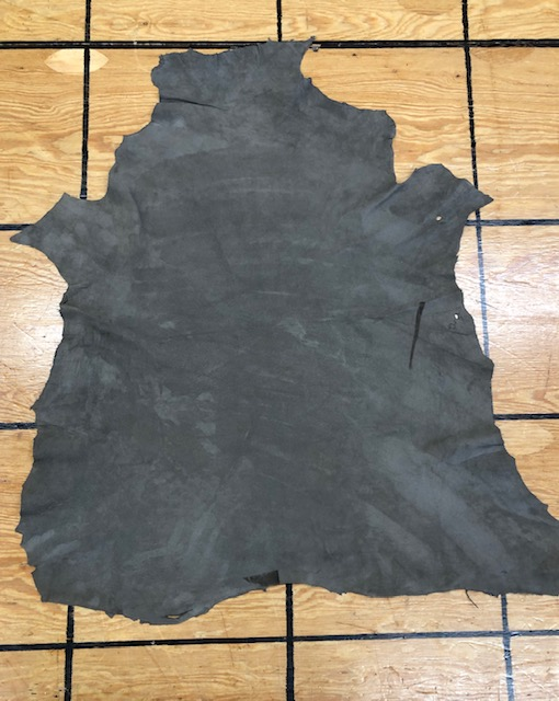 Khaki or Olive Drab soft leather hide for sale