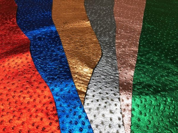 Ostrich Embossed Metallic Leather Sides in Many Colors