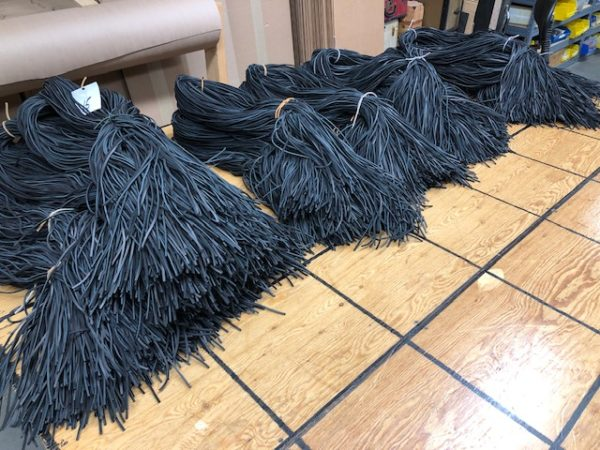 Black leather laces in 110 inch length, sold in pairs, groups of 10, or bundles of 100