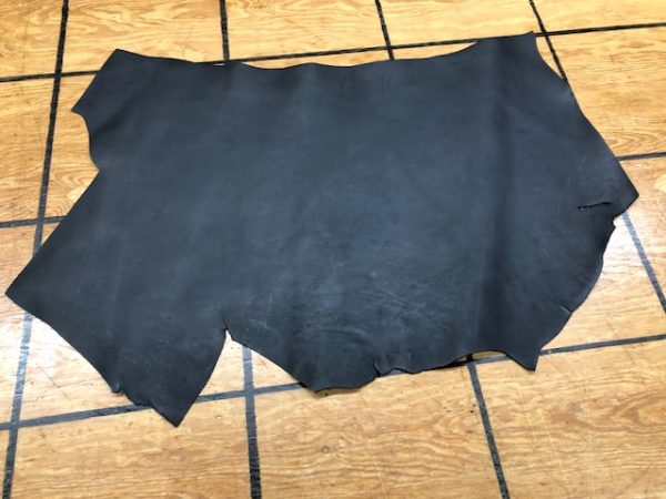 Panel of 6 oz Black Cowhide with a fine texture