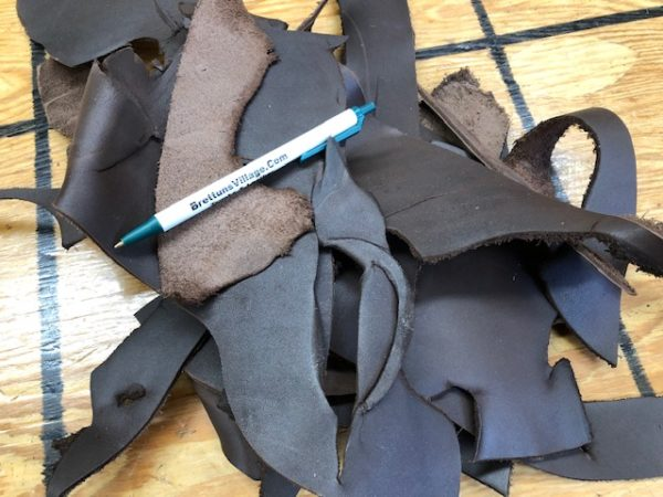 Small Dark brown Leather Scrap Pieces at Reduced Cost Plus Free USA shipping