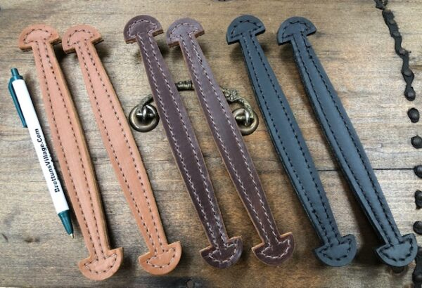TH-16 Small Stitched Leather Wide End Handles for Cases and Boxes