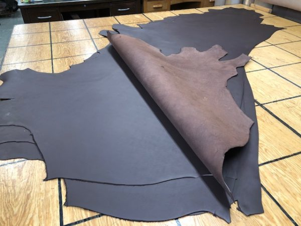 7 Ounce Chocolate Brown Chromium Tanned USA Cattlehide Sides Run LARGE