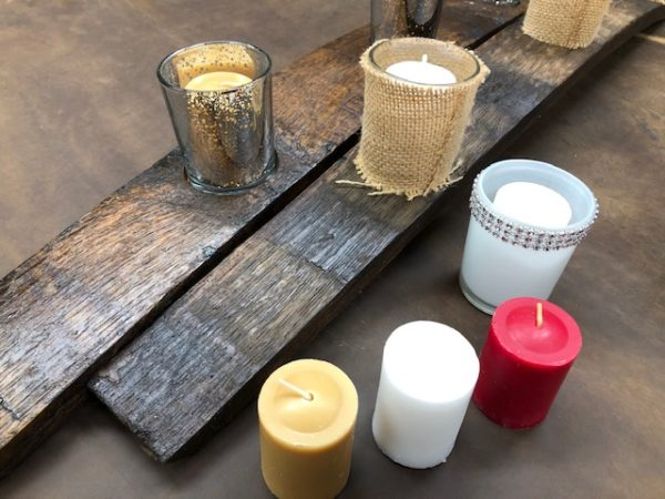 Maine Antique Barrel Stave Candle Holders