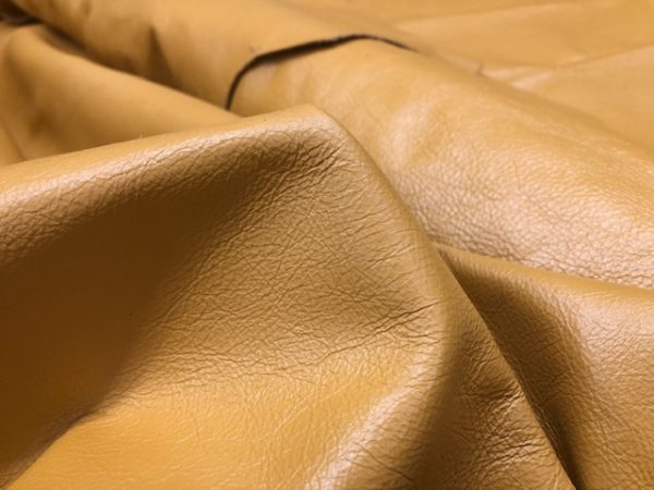 Large USA Cattlehide Sides in Gold; A Soft Garment Leather Used for Lettermen's Jackets