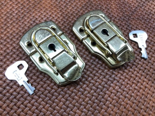 Brass Plated Mid-size Hasps or Drawbolts that LOCK - so they come with Two Keys