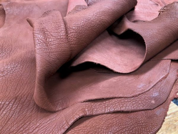 Reddish Brown (Brick?) Buffalo Calf Leather Hides, Tanned Full Vegetable and Full Substance