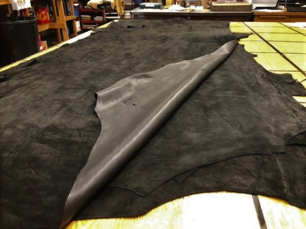 Super Soft Jet Black LARGE USA Cattlehide Sides Tanned for Garment Making; FREE USA Shipping!