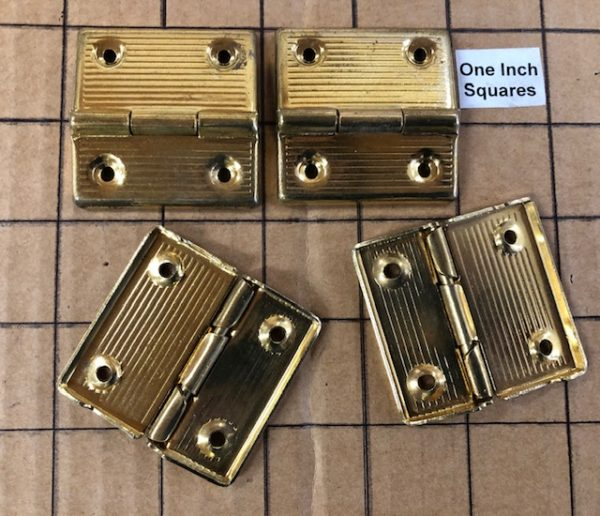 Suitcase Hinge, Small Box Hinge, Wine Box Hinge HNG-22, Brass Plated Steel, sold in pairs