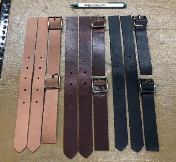 Short Leather Strap Sets for Footlocker Style Steamer Trunks or Cabin Trunks