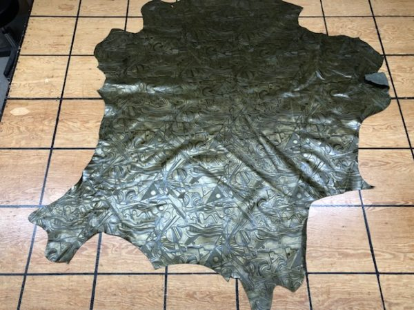 Asparagus Metallic Soviet Custom Calf Hide that's Embossed